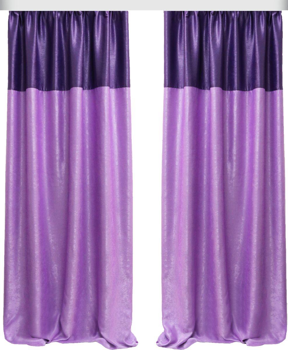 Комплект штор Zlata Korunka, на ленте, цвет: сиреневый, высота 270 см. 777075777075Роскошный комплект Zlata Korunka комплект состоит из двух штор, выполненных из 100% полиэстера, которые великолепно украсит любое окно. Плотная ткань, оригинальный орнамент и приятная цветовая гамма привлекут к себе внимание и органично впишутся в интерьер помещения. Комплект крепится на карниз при помощи шторной ленты, которая поможет красиво и равномерно задрапировать верх. Этот комплект будет долгое время радовать вас и вашу семью! В комплект входит: Штора: 2 шт. Размер (ШхВ): 160 см х 270 см.