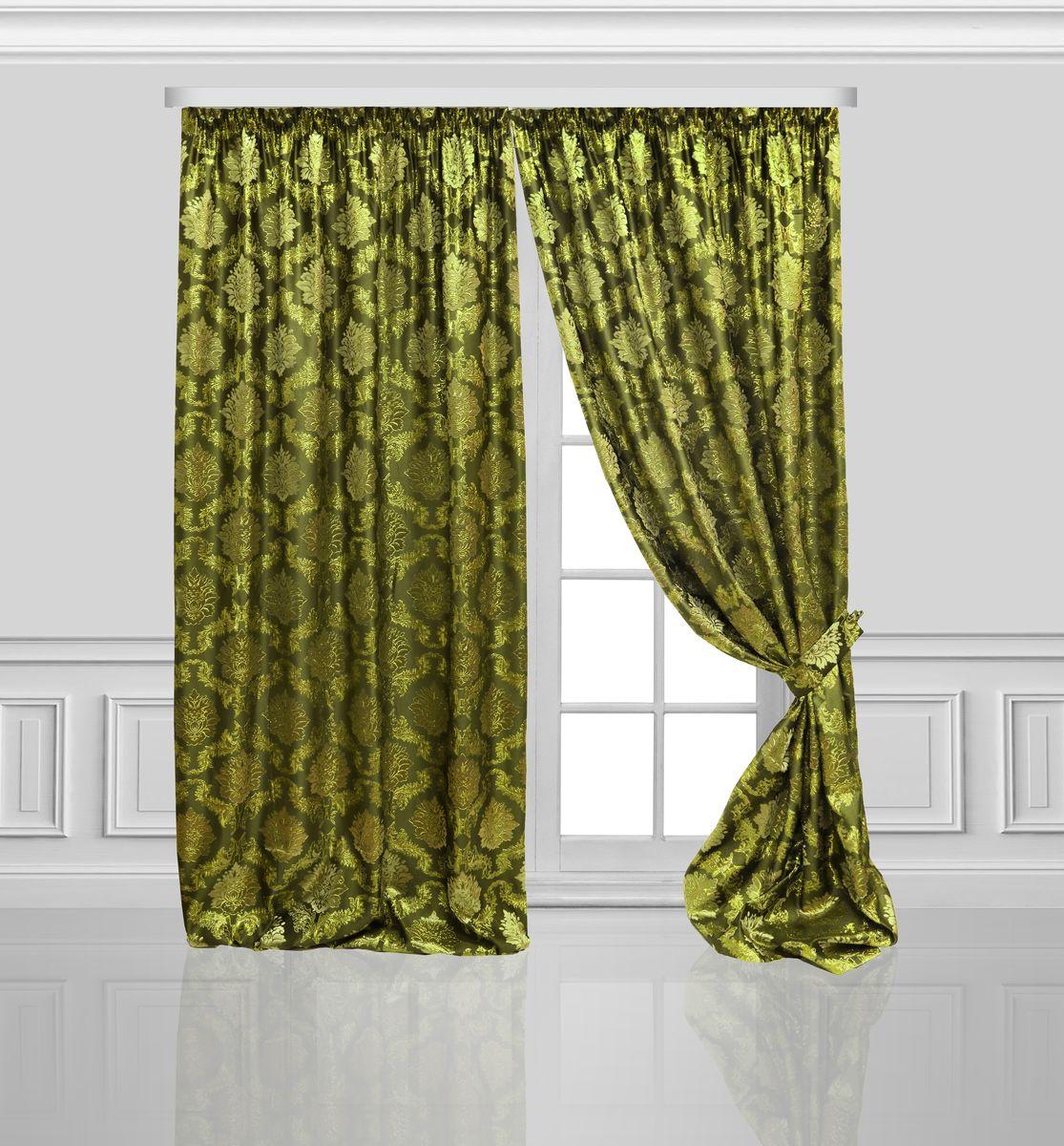 Комплект штор Zlata Korunka, на ленте, цвет: зеленый, высота 270 см. 777078777078Роскошный комплект штор Zlata Korunka комплект состоит из двух штор и двух подхватов, выполненных из 100% полиэстера, которые великолепно украсит любое окно. Плотная ткань, оригинальный орнамент и приятная, приглушенная гамма привлекут к себе внимание и органично впишутся в интерьер помещения. Комплект крепится на карниз при помощи шторной ленты, которая поможет красиво и равномерно задрапировать верх.Этот комплект будет долгое время радовать вас и вашу семью! В комплект входит: Штора: 2 шт. Размер (ШхВ): 160 см х 270 см. Подхват: 2 шт.