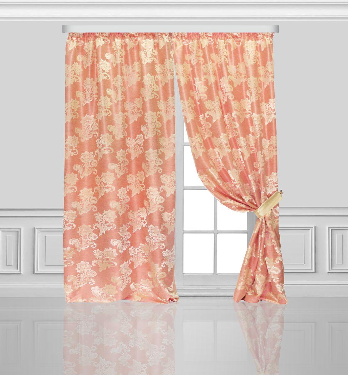 Комплект штор Zlata Korunka, на ленте, цвет: персик, высота 270 см. 777084777084Роскошный комплект штор Zlata Korunka комплект состоит из двух штор и двух подхватов, выполненных из 100% полиэстера, которыевеликолепно украсит любое окно. Плотная ткань, оригинальный орнамент и приятная цветовая гамма привлекут к себе внимание и органично впишутся в интерьерпомещения.Комплект крепится на карниз при помощи шторной ленты, которая поможеткрасиво и равномерно задрапировать верх. Этот комплект будет долгое время радовать вас и вашу семью!В комплект входит:Штора: 2 шт. Размер (ШхВ): 150 см х 270 см.Подхват: 2 шт.