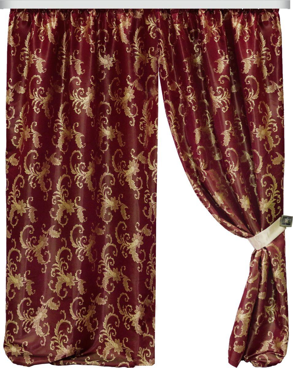 Комплект штор Zlata Korunka, на ленте, цвет: бордовый, высота 260 см. 777085HP70592/1/1E Лучиана бежевый, , ш285*в255смРоскошный комплект Zlata Korunka комплект состоит из двух штор и двух подхватов, выполненных из 100% полиэстера, которыевеликолепно украсит любое окно. Плотная ткань, оригинальный орнамент и приятная цветовая гамма привлекут к себе внимание и органично впишутся в интерьерпомещения.Комплект крепится на карниз при помощи шторной ленты, которая поможеткрасиво и равномерно задрапировать верх. Этот комплект будет долгое время радовать вас и вашу семью!В комплект входит:Штора: 2 шт. Размер (ШхВ): 150 см х 260 см.Подхват: 2 шт.