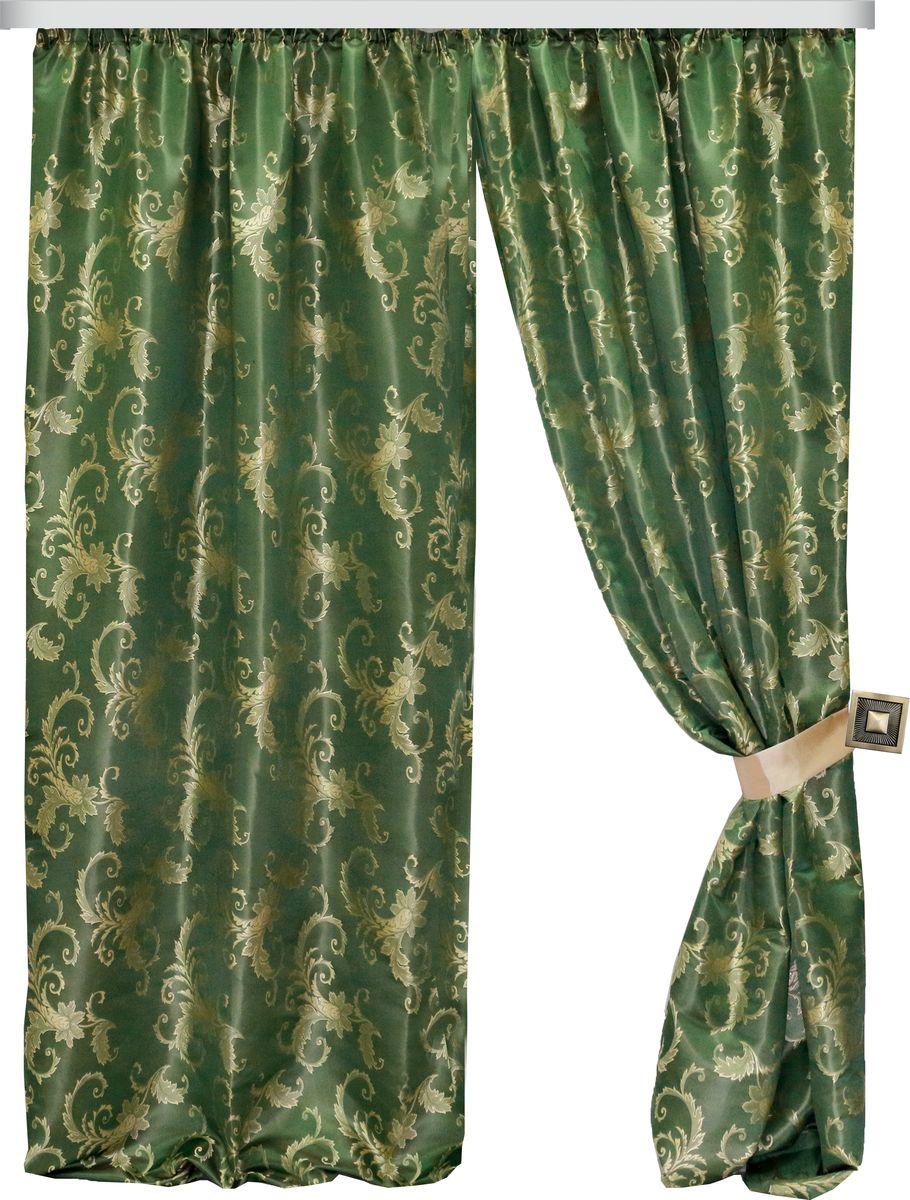 Комплект штор Zlata Korunka, на ленте, цвет: зеленый, высота 260 см. 777086С 3318 - W1223 V52Роскошный комплект штор Zlata Korunka комплект состоит из двух штор и двух подхватов, выполненных из 100% полиэстера, которыевеликолепно украсит любое окно. Плотная ткань, оригинальный орнамент и приятная цветовая гамма привлекут к себе внимание и органично впишутся в интерьерпомещения.Комплект крепится на карниз при помощи шторной ленты, которая поможеткрасиво и равномерно задрапировать верх. Этот комплект будет долгое время радовать вас и вашу семью!В комплект входит:Штора: 2 шт. Размер (ШхВ): 150 см х 260 см.Подхват: 2 шт.