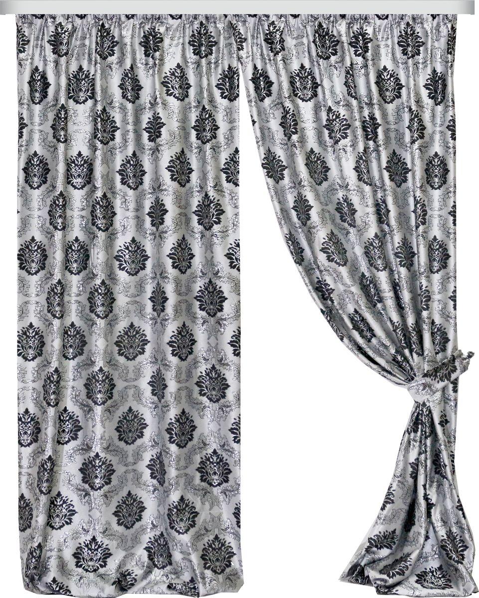 Комплект штор Zlata Korunka, на ленте, цвет: серый, высота 270 см. 777088777088Роскошный комплект штор Zlata Korunka комплект состоит из двух штор и двух подхватов, выполненных из 100% полиэстера, которые великолепно украсит любое окно.Плотная ткань, оригинальный орнамент и приятная цветовая гамма привлекут к себе внимание и органично впишутся в интерьер помещения. Комплект крепится на карниз при помощи шторной ленты, которая поможет красиво и равномерно задрапировать верх.Этот комплект будет долгое время радовать вас и вашу семью! В комплект входит: Штора: 2 шт. Размер (ШхВ): 160 см х 270 см. Подхват: 2 шт.
