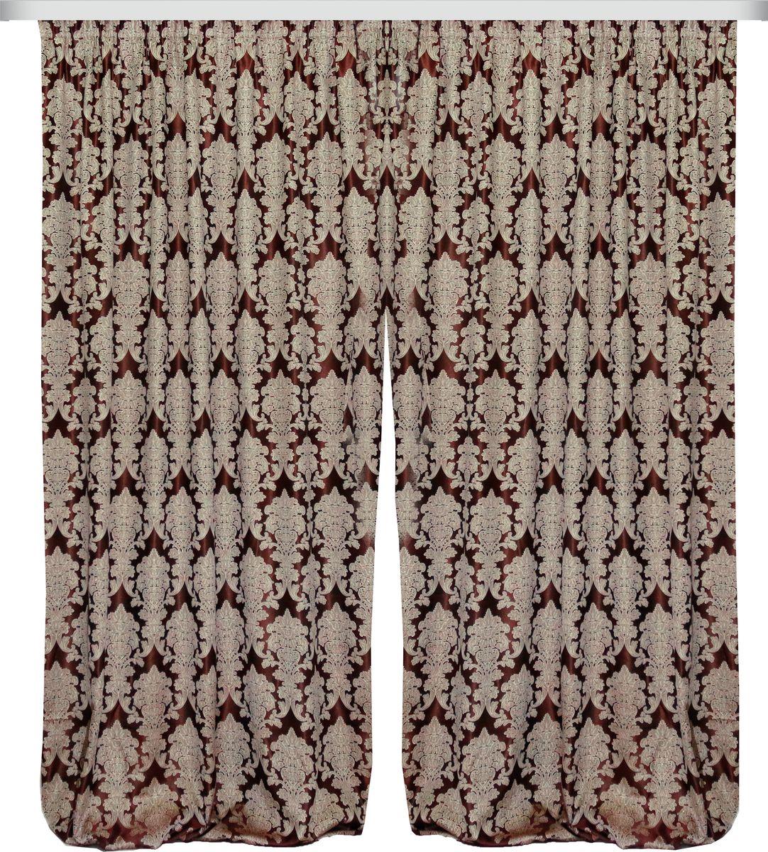 Комплект штор Zlata Korunka, на ленте, цвет: темно-бордовый, высота 270 см. 777089777089Роскошный комплект штор Zlata Korunka комплект состоит из двух штор, выполненных из 100% полиэстера, которыевеликолепно украсит любое окно. Плотная ткань, оригинальный орнамент и приятная цветовая гамма привлекут к себе внимание и органично впишутся в интерьерпомещения.Комплект крепится на карниз при помощи шторной ленты, которая поможеткрасиво и равномерно задрапировать верх. Этот комплект будет долгое время радовать вас и вашу семью!В комплект входит:Штора: 2 шт. Размер (ШхВ): 180 см х 270 см.