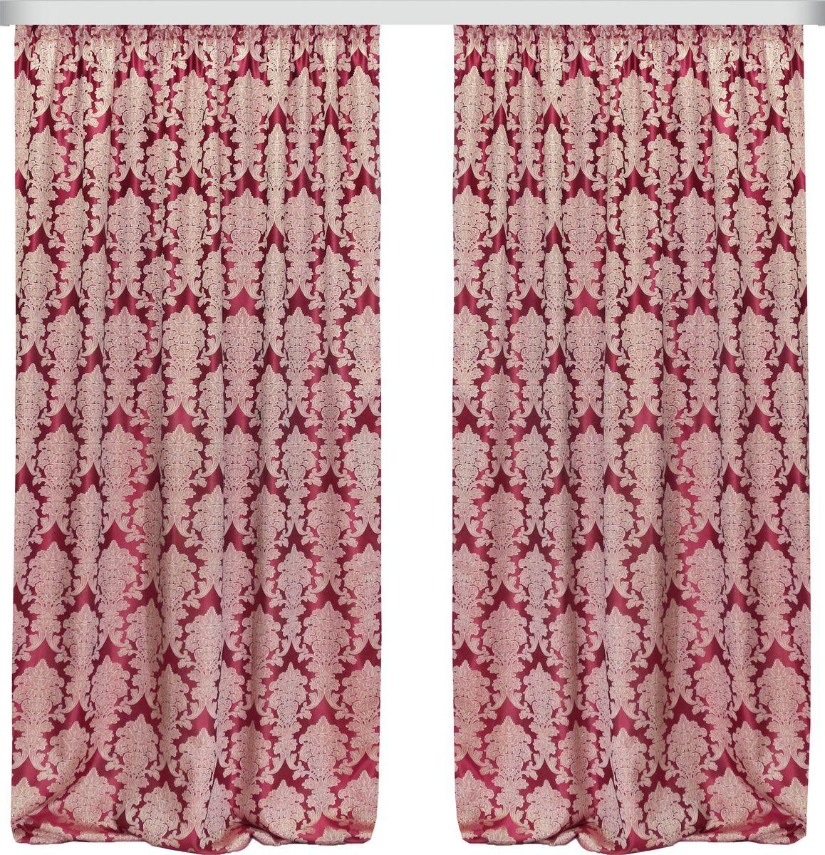 Комплект штор Zlata Korunka, на ленте, цвет: бордовый, высота 270 см. 777091777091Роскошный комплект штор Zlata Korunka комплект состоит из двух штор, выполненных из 100% полиэстера, которые великолепно украсит любоеокно. Плотная ткань, оригинальный орнамент и приятная цветовая гамма привлекут к себе внимание и органично впишутся в интерьерпомещения.Комплект крепится на карниз при помощи шторной ленты, которая поможеткрасиво и равномерно задрапировать верх. Этот комплект будет долгое время радовать вас и вашу семью!В комплект входит:Штора: 2 шт. Размер (ШхВ): 160 см х 270 см.