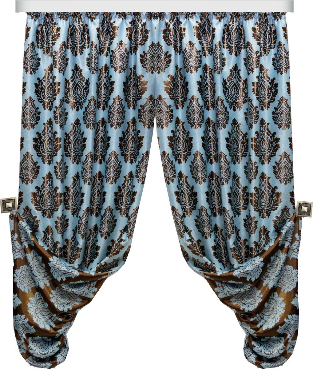 Комплект штор Zlata Korunka, на ленте, цвет: синий, коричневый, высота 270 см. 777094777094Роскошный комплект штор Zlata Korunka, выполненный из 100% полиэстера, великолепно украсит любое окно. Комплект состоит из двух портьер и двух подхватов. Плотная ткань, оригинальный принт и приятная, приглушенная гамма привлекут к себе внимание и органично впишутся в интерьер помещения. Комплект крепится на карниз при помощи шторной ленты, которая поможет красиво и равномерно задрапировать верх. Портьеры можно зафиксировать в одном положении с помощью двух подхватов. Этот комплект будет долгое время радовать вас и вашу семью! В комплект входит: Портьера: 2 шт. Размер (ШхВ): 160 см х 270 см. Подхват: 2 шт. Размер (ШхВ): 60 см х 10 см.