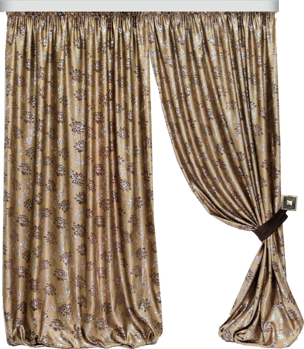Комплект штор Zlata Korunka, на ленте, цвет: капучино, высота 280 см. 777095777095Роскошный комплект штор Zlata Korunka, выполненный из полиэстера, великолепно украсит любое окно. Комплект состоит из двух штор и двух подхватов. Изящный рисунок и приятная цветовая гамма привлекут к себе внимание и органично впишутся в интерьер помещения.Этот комплект будет долгое время радовать вас и вашу семью! Комплект крепится на карниз при помощи ленты, которая поможет красиво и равномерно задрапировать верх.