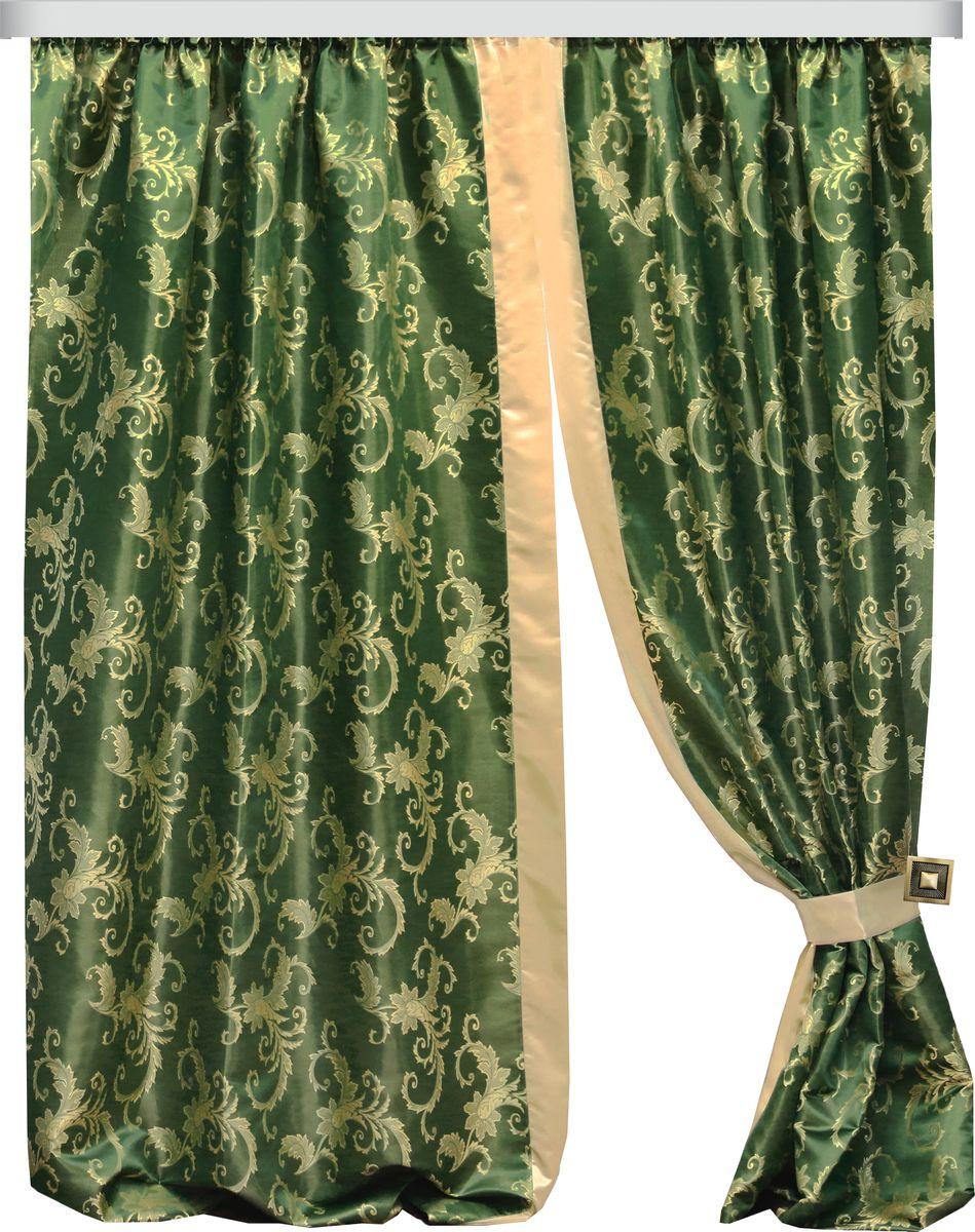 Комплект штор Zlata Korunka, на ленте, цвет: зеленый, высота 265 см. 777097777097Роскошный комплект штор Zlata Korunka комплект состоит из двух портьер и двух подхватов, выполненных из 100% полиэстера, которые великолепно украсит любое окно.Плотная ткань, оригинальный орнамент и приятная цветовая гамма привлекут к себе внимание и органично впишутся в интерьер помещения. Комплект крепится на карниз при помощи шторной ленты, которая поможет красиво и равномерно задрапировать верх.Этот комплект будет долгое время радовать вас и вашу семью! В комплект входит: Штора: 2 шт. Размер (ШхВ): 150 см х 265 см. Подхват: 2 шт.