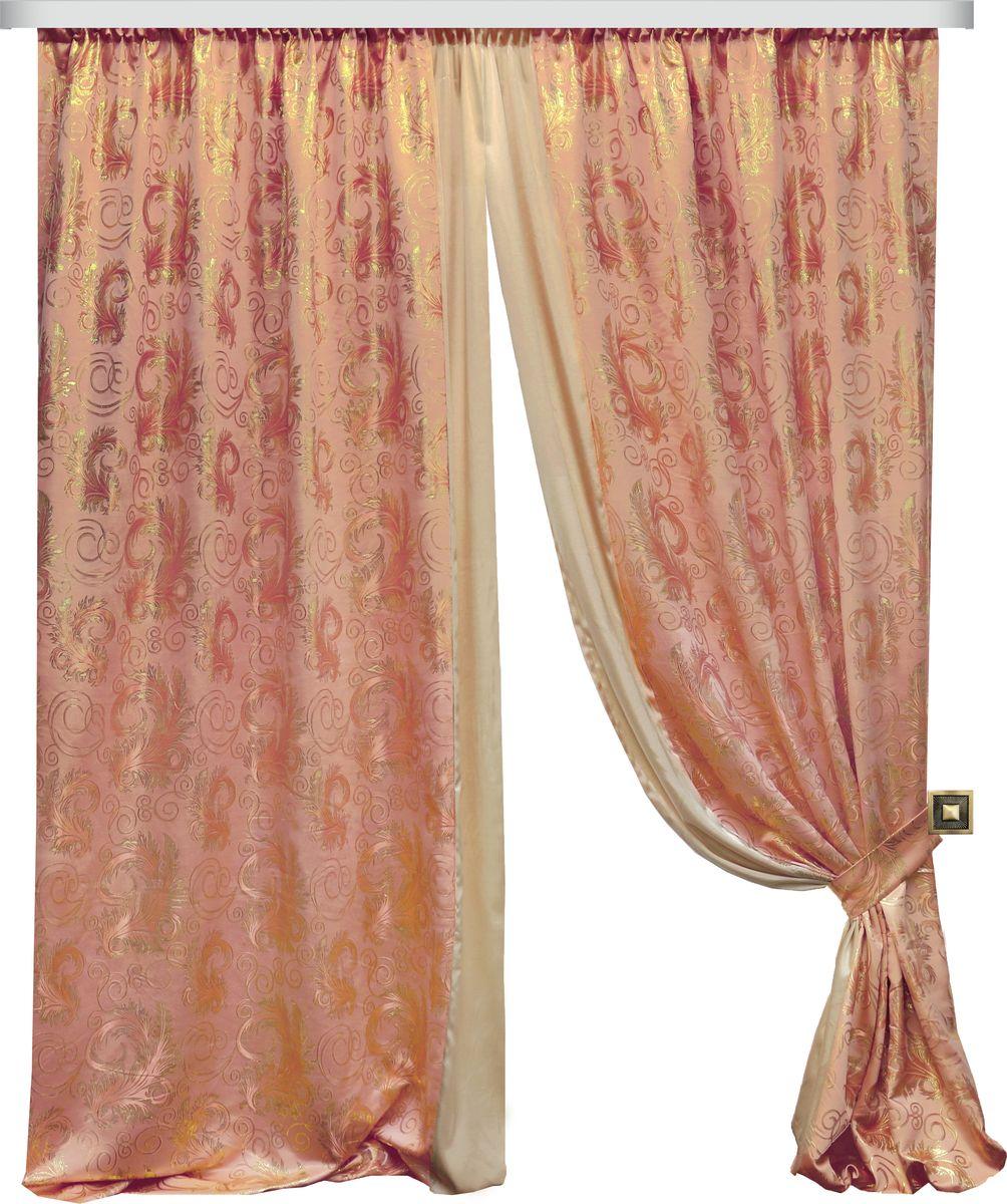 Комплект штор Zlata Korunka, на ленте, цвет: персиковый, высота 270 см. 777098777098Роскошный комплект штор Zlata Korunka комплект состоит из двух штор и двух подхватов, выполненных из 100% полиэстера, которые великолепно украсит любое окно.Плотная ткань, оригинальный орнамент и приятная цветовая гамма привлекут к себе внимание и органично впишутся в интерьер помещения. Комплект крепится на карниз при помощи шторной ленты, которая поможет красиво и равномерно задрапировать верх.Этот комплект будет долгое время радовать вас и вашу семью! В комплект входит: Штора: 2 шт. Размер (ШхВ): 180 см х 270 см. Подхват: 2 шт.