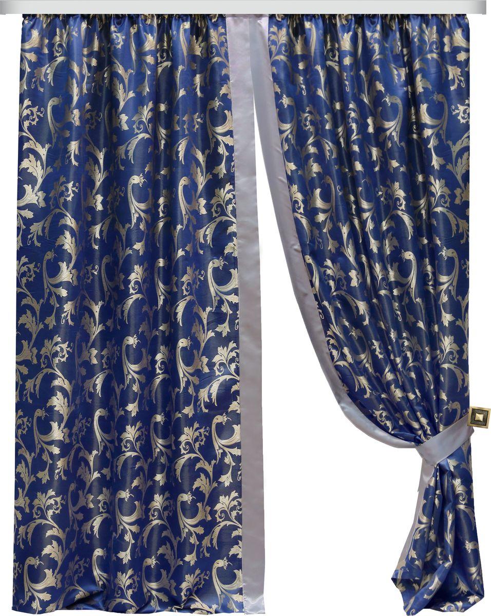 Комплект штор Zlata Korunka, на ленте, цвет: синий, высота 250 см. 777099777099Комплект штор Zlata Korunka, выполненный из полиэстера, великолепно украсит любое окно. Комплект состоит из тюля, двух штор и двух подхватов. Изящный узор и приятная цветовая гамма привлекут к себе внимание и органично впишутся в интерьер помещения. Этот комплект будет долгое время радовать вас и вашу семью!Комплект крепится на карниз при помощи ленты, которая поможет красиво и равномерно задрапировать верх.