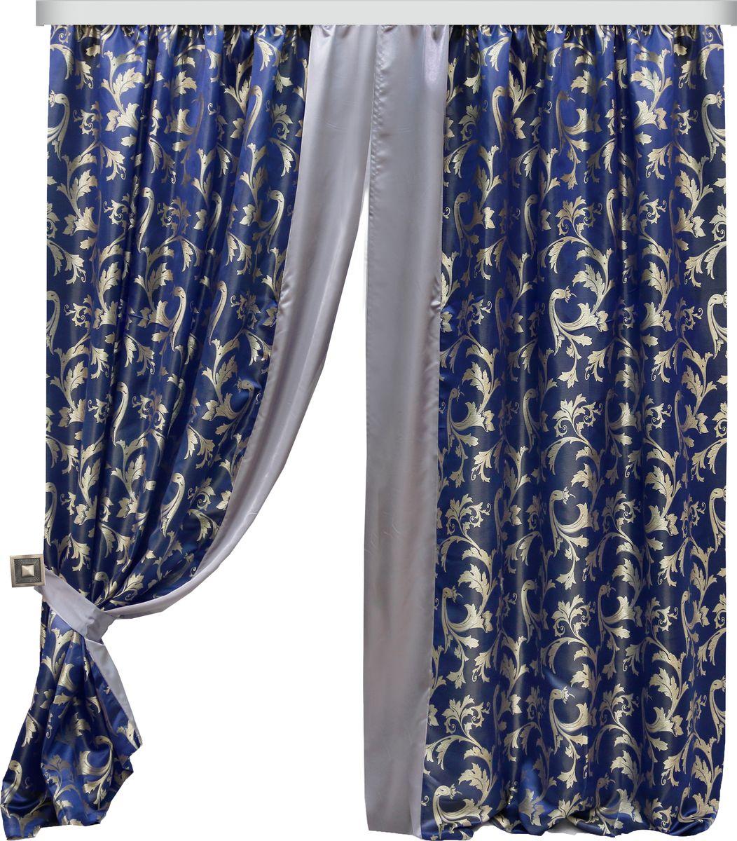 Комплект штор Zlata Korunka, на ленте, цвет: синий, высота 250 см. 777100777100Роскошный комплект штор Zlata Korunka, выполненный из полиэстера,великолепно украсит любое окно. Комплект состоит из двух штор и двух подхватов.Изящный рисунок и приятная цветовая гамма привлекут к себевнимание и органично впишутся в интерьер помещения. Этот комплект будет долгое время радовать вас и вашу семью!