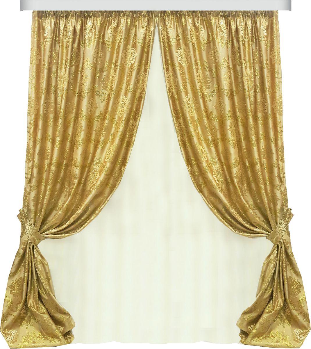 Комплект штор Zlata Korunka, на ленте, цвет: золотой, высота 270 см. 777101777101Роскошный комплект штор Zlata Korunka, выполненный из полиэстера, великолепно украсит любое окно. Комплект состоит из двух портьер, двух подхватов и тюля из вуали. Плотная ткань, оригинальный орнамент и приятная, приглушенная гамма привлекут к себе внимание и органично впишутся в интерьер помещения. Комплект крепится на карниз при помощи шторной ленты, которая поможет красиво и равномерно задрапировать верх. Портьеры можно зафиксировать в одном положении с помощью двух подхватов. Этот комплект будет долгое время радовать вас и вашу семью!