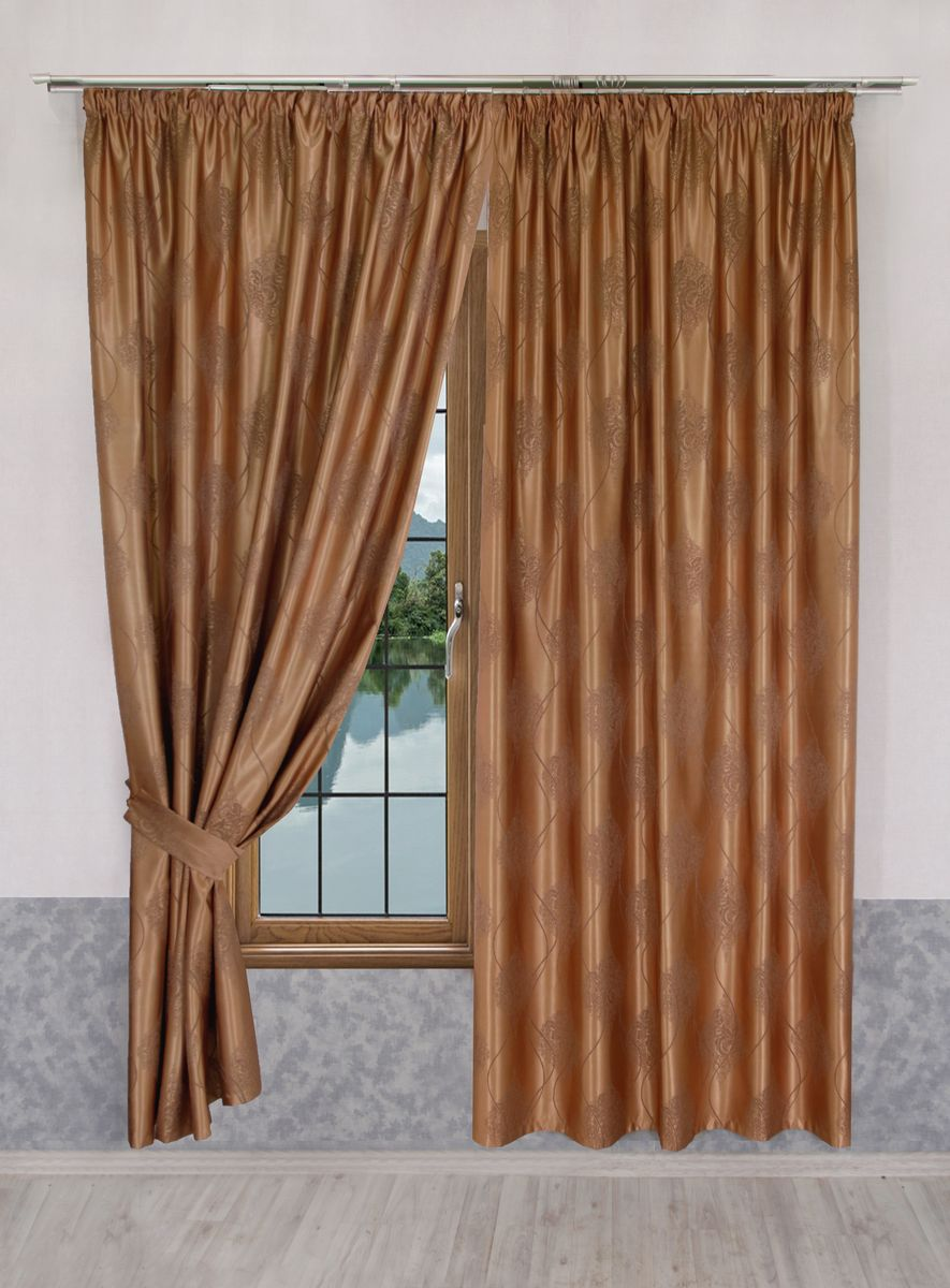 Комплект штор Zlata Korunka, на ленте, цвет: бронзовый, высота 265 см. 777104777104Роскошный комплект штор Zlata Korunka комплект состоит из двух штор и двух подхватов, выполненных из 100% полиэстера, которые великолепно украсит любое окно.Плотная ткань, оригинальный орнамент и приятная цветовая гамма привлекут к себе внимание и органично впишутся в интерьер помещения. Комплект крепится на карниз при помощи шторной ленты, которая поможет красиво и равномерно задрапировать верх.Этот комплект будет долгое время радовать вас и вашу семью! В комплект входит: Штора: 2 шт. Размер (ШхВ): 160 см х 265 см. Подхват: 2 шт.