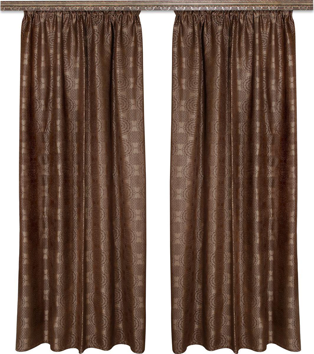 Комплект штор Zlata Korunka, на ленте, цвет: коричневый, высота 270 см. 777105777105Роскошный комплект штор Zlata Korunka комплект состоит из двух портьер, выполненных из 100% полиэстера, которые великолепно украсит любое окно.Плотная ткань, оригинальный орнамент и приятная цветовая гамма привлекут к себе внимание и органично впишутся в интерьер помещения. Комплект крепится на карниз при помощи шторной ленты, которая поможет красиво и равномерно задрапировать верх.Этот комплект будет долгое время радовать вас и вашу семью! В комплект входит: Штора: 2 шт. Размер (ШхВ): 160 см х 270 см.