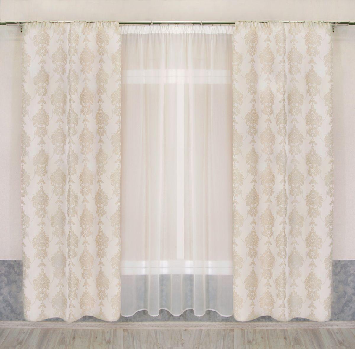 Комплект штор Zlata Korunka, на ленте, цвет: кремовый, высота 250 см. 777109777109Комплект штор Zlata Korunka, выполненный из полиэстера, великолепно украсит любое окно. Комплект состоит из тюля и двух штор. Изящный узор и приятная цветовая гамма привлекут к себе внимание и органично впишутся в интерьер помещения. Этот комплект будет долгое время радовать вас и вашу семью!Комплект крепится на карниз при помощи ленты, которая поможет красиво и равномерно задрапировать верх.