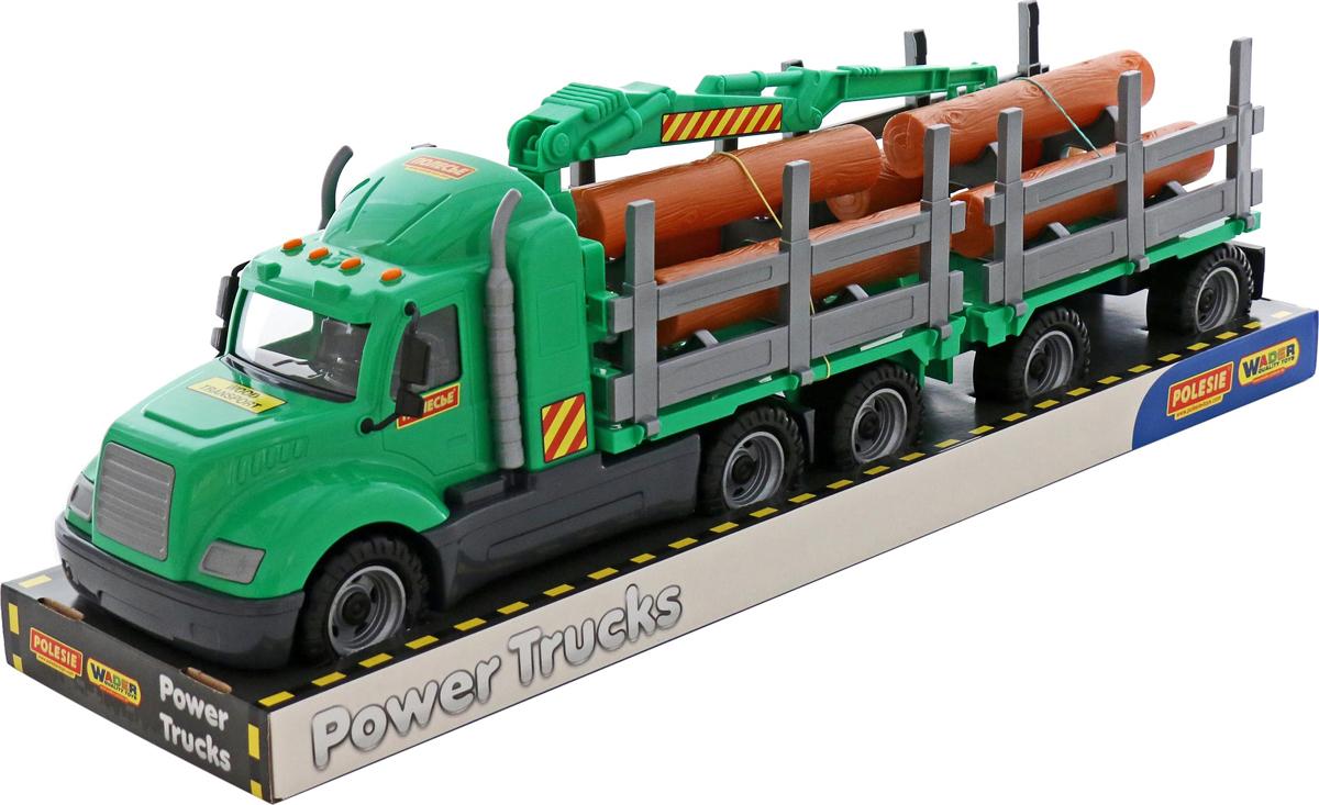 Полесье Лесовоз с прицепом Майк цвет зеленый автомобиль пожарный полесье майк в коробке 61973
