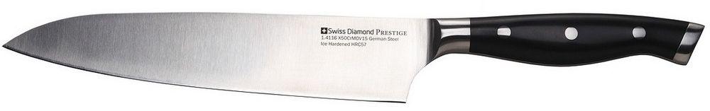 Нож Шеф Swiss Diamond Prestige, длина лезвия 20 смSDPK01Нож шеф. Материал лезвия: нержавеющая сталь. Длина лезвия: 20 см. Материал рукоятки: пластик. Цвет: черный. Ножи изготовлены из немецкой стали 1.4116, которая дает ножам относительную гибкость вместе с непревзойденной стойкостью к коррозия. Лезвия ножей подвергаются процессу ледяной закалки (одна из последних технологий, которую используют ведущие производители ножей из Германии), для достижения прочности лезвия, предотвращения образования пятен и уверенности в остроте лезвия на долгое время.