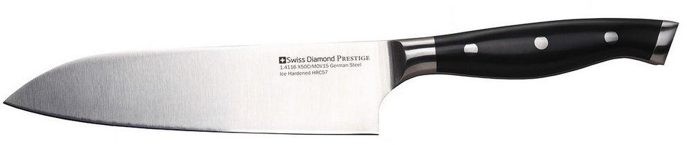 Нож сантоку Swiss Diamond Prestige, длина лезвия 18 смSDPK04Нож сантоку Prestige с лезвием из высококачественной нержавеющей стали. Ножи Swiss Diamond изготовлены из немецкой стали 1.4116, которая дает ножам относительную гибкость вместе с непревзойденной стойкостью к коррозии. Лезвия ножей подвергаются процессу ледяной закалки (одна из последних технологий, которую используют ведущие производители ножей из Германии), для достижения прочности лезвия, предотвращения образования пятен и уверенности в остроте лезвия на долгое время.