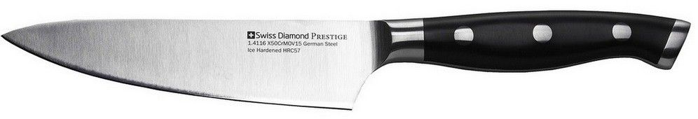 Нож универсальный Swiss Diamond Prestige, длина лезвия 13 смSDPK05Нож универсальный Swiss Diamond Prestige изготовлен из нержавеющей стали. Материал рукоятки: пластик. Ножи изготовлены из немецкой стали 1.4116, которая дает ножам относительную гибкость вместе с непревзойденной стойкостью к коррозии. Лезвия ножей подвергаются процессу ледяной закалки (одна из последних технологий, которую используют ведущие производители ножей из Германии), для достижения прочности лезвия, предотвращения образования пятен и уверенности в остроте лезвия на долгое время.