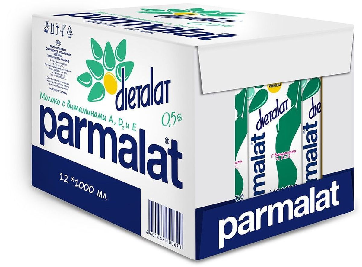 Parmalat Dietalat молоко ультрапастеризованное 0,5% обогащенное витаминами, 12 шт по 1 л neewer cn 304 304pcs led dimmable ultra high power panel digital camera camcorder video light led light for canon nikon pentax