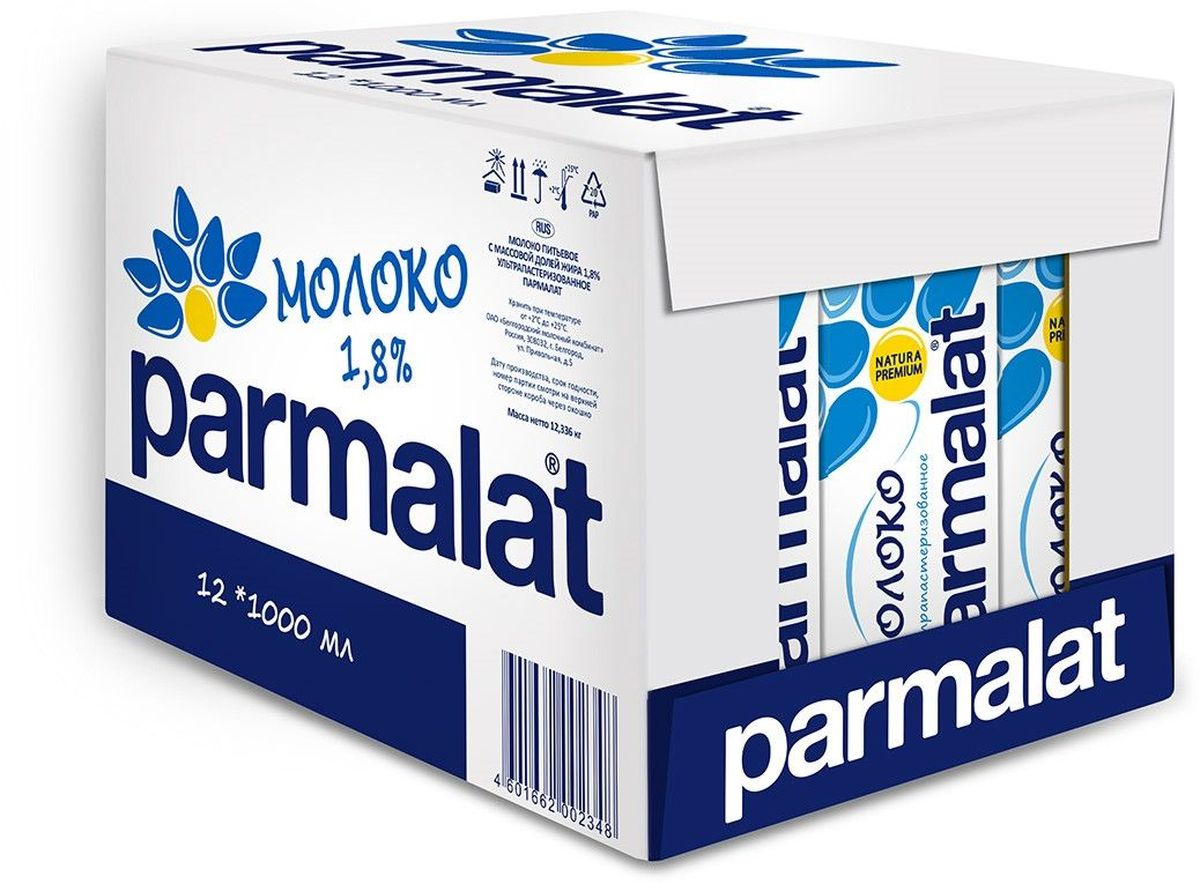 Parmalat молоко ультрапастеризованное 1,8%, 12 шт по 1 л502314Parmalat молоко ультрапастеризованное 1,8%, 1 л