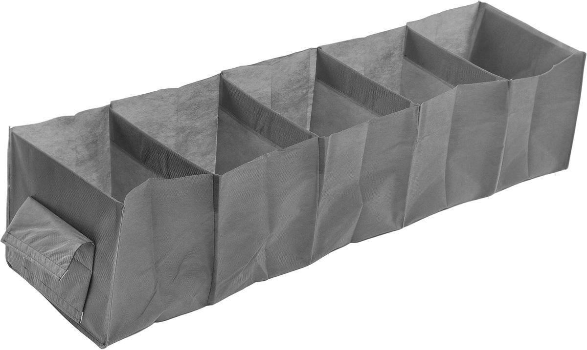 Кофр для хранения одежды Eva, 5 полок, цвет: серый, 28 х 28 х 120 смЕ-35_серыйКофр Eva - идеальное решение для хранения одежды, обуви и аксессуаров. Кофрвыполнен из прочного нетканого материала, а каркас - из плотного картона,благодаря чему изделие не деформируется и отлично сохраняет форму. Кофримеет 5 полок. Подвешивается на перекладину, закрепляется с помощью липучек.Такой кофр поможет с легкостью организовать пространство в шкафу илигардеробе.