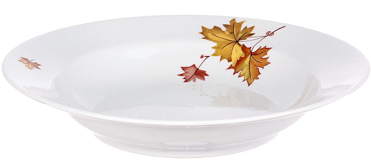 Тарелка глубокая Дулевский Фарфор Клен, диаметр 20 см047732Тарелка Дулевский Фарфор выполнена из высококачественного фарфора, покрытого глазурью. Изделие дополнено красочным рисунком. Тарелку можно использовать для сервировки различных блюд.