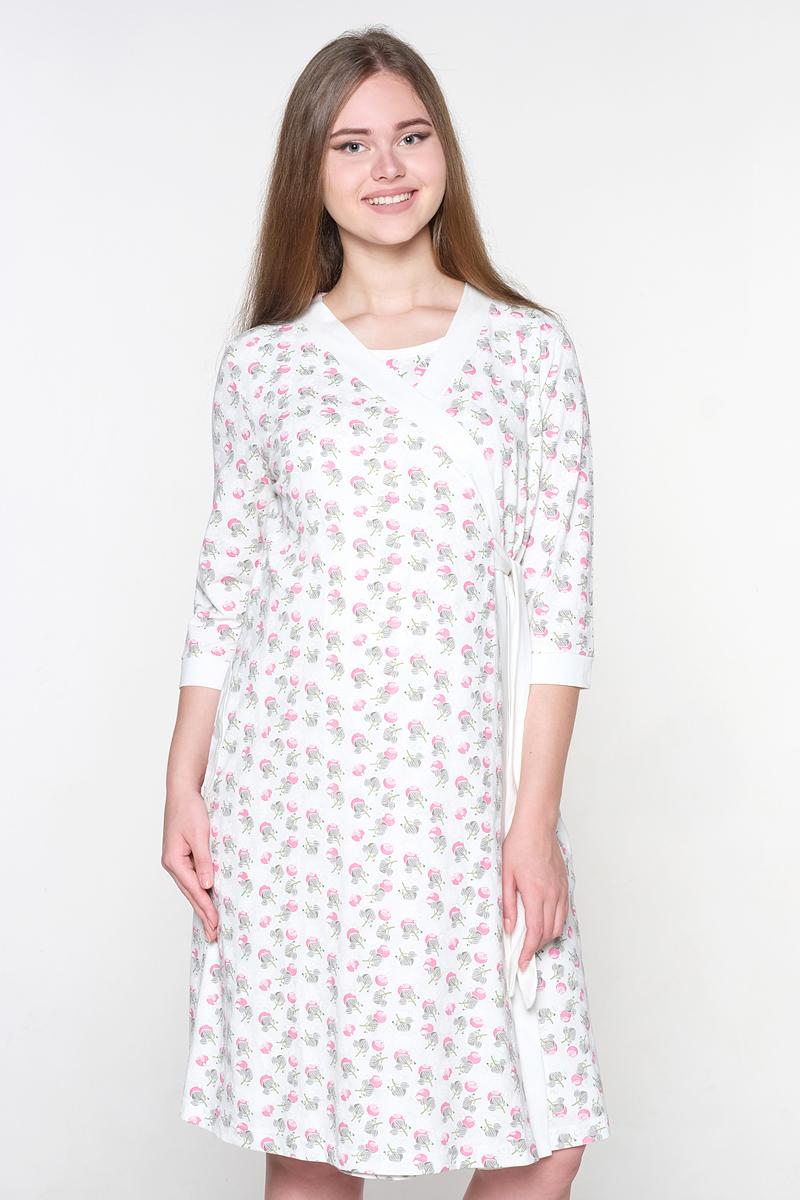 Комплект для беременных и кормящих Hunny Mammy: халат, сорочка ночная, цвет: молочный, малиновый. 1-НМК 07720. Размер 42 костюмы fest комплект для беременных и кормящих