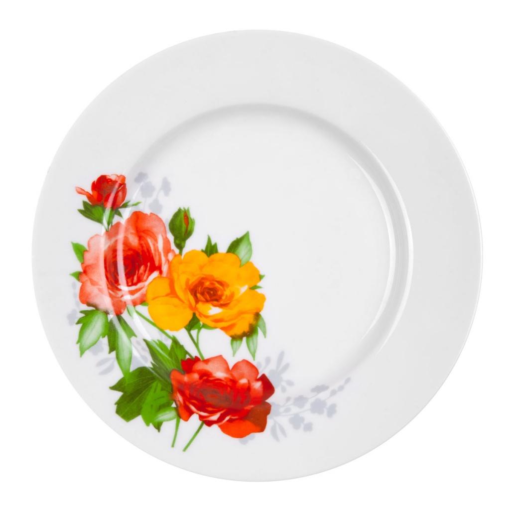 """Тарелка """"Роза"""" выполнена из высококачественного фарфора и украшена ярким рисунком. Она прекрасно впишется в интерьер вашей кухни и станет достойным дополнением к кухонному инвентарю. Тарелка """"Роза"""" подчеркнет прекрасный вкус хозяйки и станет отличным подарком."""