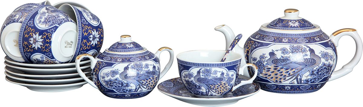 Набор чайный Elan Gallery Павлин синий, 14 предметов. 180691180691Набор на 6 персон сделает Ваше чаепитие незабываемым. В комплекте: 6 чашек объемом 250 мл, 6 блюдец, 6 ложек, чайник с ситом и сахарница. Изделие имеет подарочную упаковку, поэтому станет желанным подарком для Ваших близких!