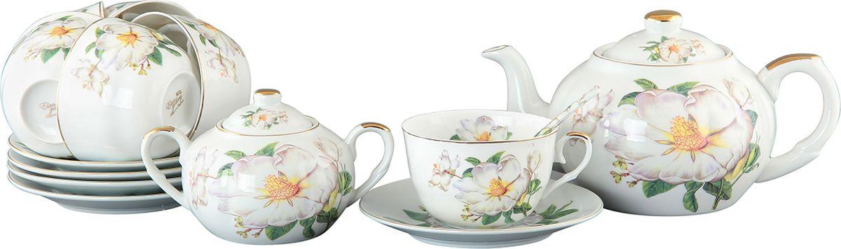 Набор чайный Elan Gallery Белый шиповник, 14 предметов. 180805180805Чайный набор - это отличный подарок, подходящий для любого повода. Принесет в Ваш дом красоту и уют душевных чаепитий! Изящная посуда, изготовленная из высококачественной керамики с нежным цветочным дизайном прекрасно дополнит интерьер Вашей кухни. А также станет отличным подарком Вашим друзьям и близким.