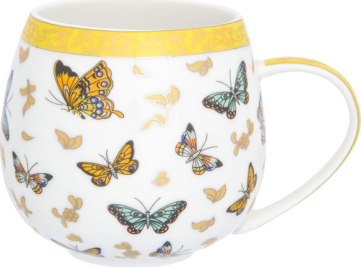 Кружка Elan Gallery Бабочки, бочонок, 400 мл. 181042181042Кружка в виде бочонка объемом 400 мл станет оригинальным подарком любимым! Изделие имеет подарочную упаковку.