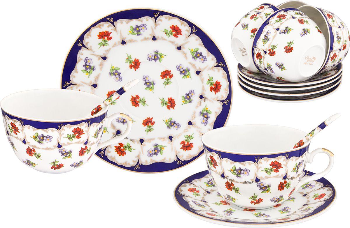 Набор чайный Elan Gallery Цветочек, 18 предметов. 471349471349Набор чайный Elan Gallery Цветочек на 6 персон в красивой подарочной упаковке. В наборе легкие изящные чашки объемом 250 мл, большие блюдца и чайные ложки. Этот чайный сервиз подходит для праздничного стола и является великолепным подарком!Диаметр блюдца: 10,5 см.