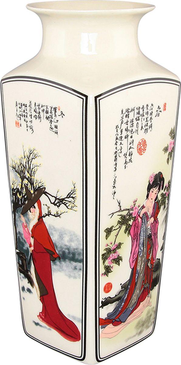 """Декоративная квадратная ваза Elan Gallery """"Китаянка"""", с круглым горлом, выполнена из высококачественного фарфора и оформлена 4 разными рисунками с каждой стороны. Оригинальный дизайн наполнит ваш дом праздничным настроением. Изделие имеет подарочную упаковку, поэтому станет желанным подарком для ваших близких!  Размер: 7,5 x 7,5 x 20 см.  Объем: 900 мл."""
