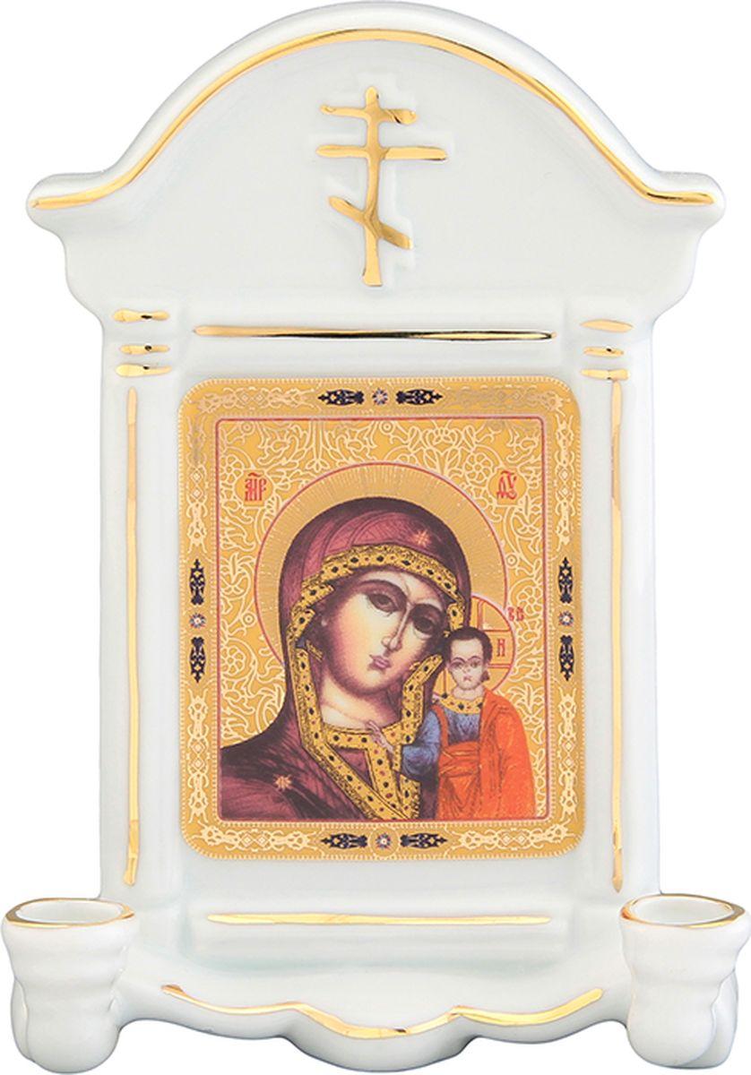 Икона Elan Gallery Казанская божья матерь, с 2 подсвечниками, с молитвой Богородице Дево, радуйся, 9 х 4,5 х 12,5 см504061Декоративная икона станет необыкновенным подарком для верующих людей.