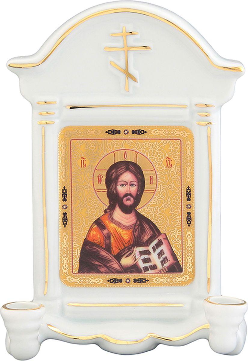 Икона Elan Gallery Иисус Христос, с 2 подсвечниками, с молитвой Благословение дома, 9 х 4,5 х 12,5 см504062Декоративная икона станет необыкновенным подарком для верующих людей. В основании изделия, по бокам, находятся два подсвечника, в которые можно поместить свечи и подсвечивать изображение. Икона поможет создать особую атмосферу на праздники.