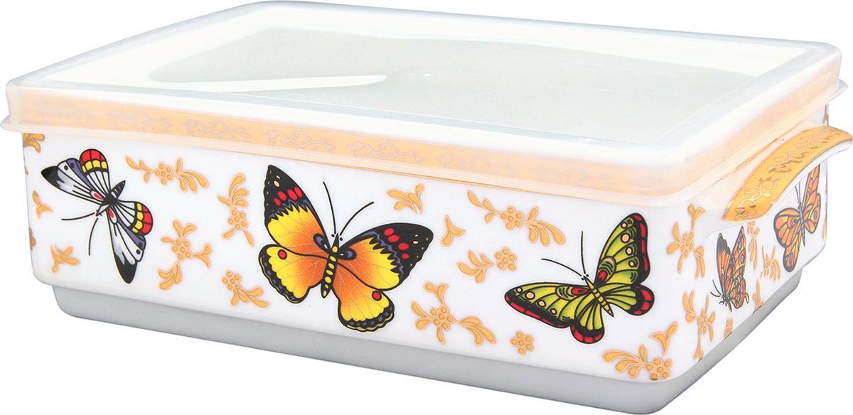 Блюдо для холодца Elan Gallery Бабочки, с крышкой, 800 мл. 504085504085Блюдо для холодца Elan Gallery Бабочки, изготовленное из высококачественного фарфора, предназначено для приготовления и хранения заливного или холодца. Пластиковая крышка, входящая в комплект, сохранит свежесть вашего блюда. Также блюдо можно использовать для приготовления и хранения салатов.Объем 800 мл.