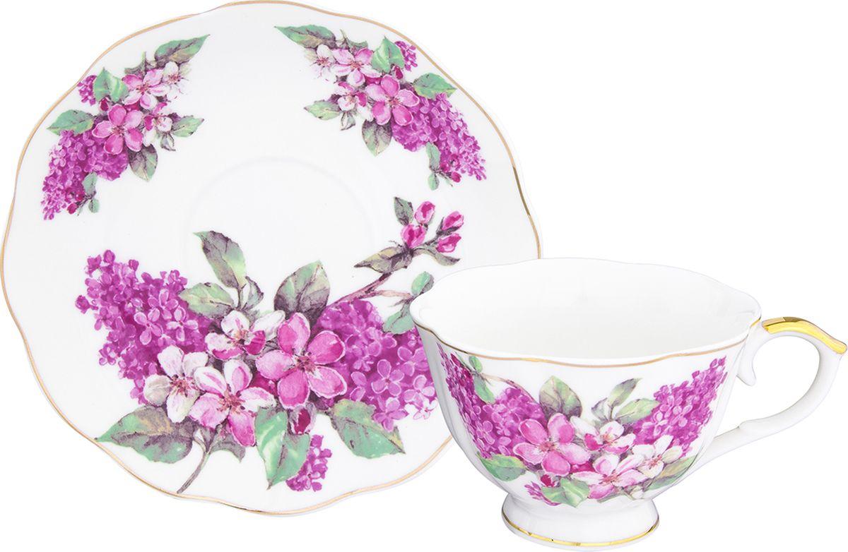 Чайная пара Elan Gallery Ветка сирени чашка на ножке, 250 мл, 2 предмета. 504099504099Шикарная чайная пара на 1 персону - это отличный подарок, подходящий для любого повода. В комплекте 1 чашка на ножке объемом 250 мл, 1 блюдце. Изделие имеет подарочную упаковку, поэтому станет желанным подарком для ваших близких!