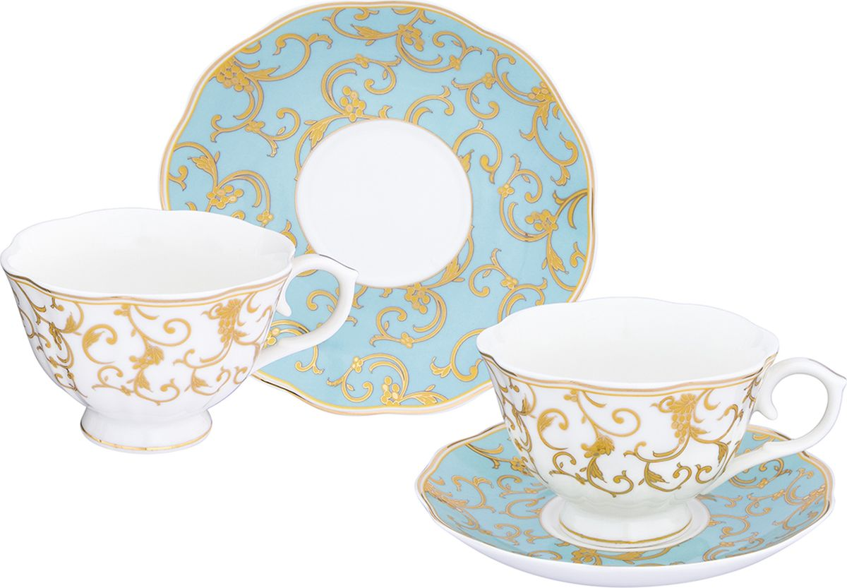 Чайная пара Elan Gallery Королевский узор на голубом чашка на ножке, 250 мл, 4 предмета. 504100504100Шикарная чайная пара на две персоны - это отличный подарок, подходящий длялюбого повода. В комплекте две чашки на ножке объемом 250 мл, два блюдце.