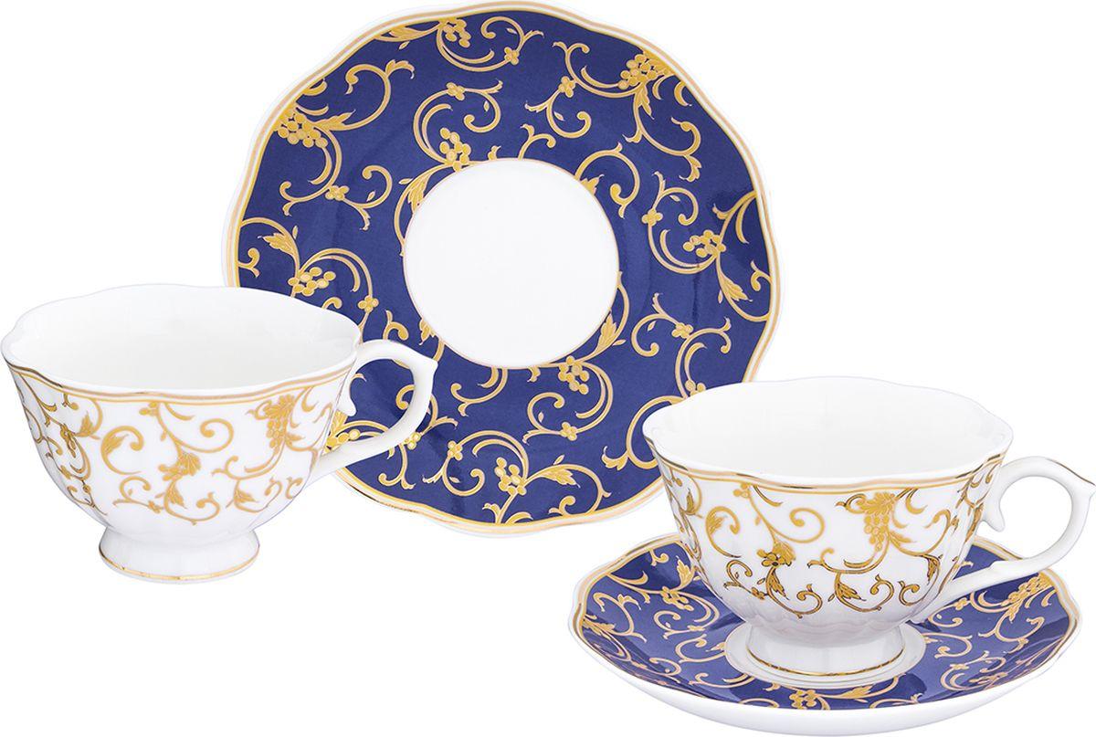 Чайная пара Elan Gallery Королевский узор на синем чашка на ножке, 250 мл, 4 предмета. 504101504101Шикарная чайная пара на 2 персоны - это отличный подарок, подходящий для любого повода. В комплекте 2 чашки на ножке объемом 250 мл, 2 блюдце.
