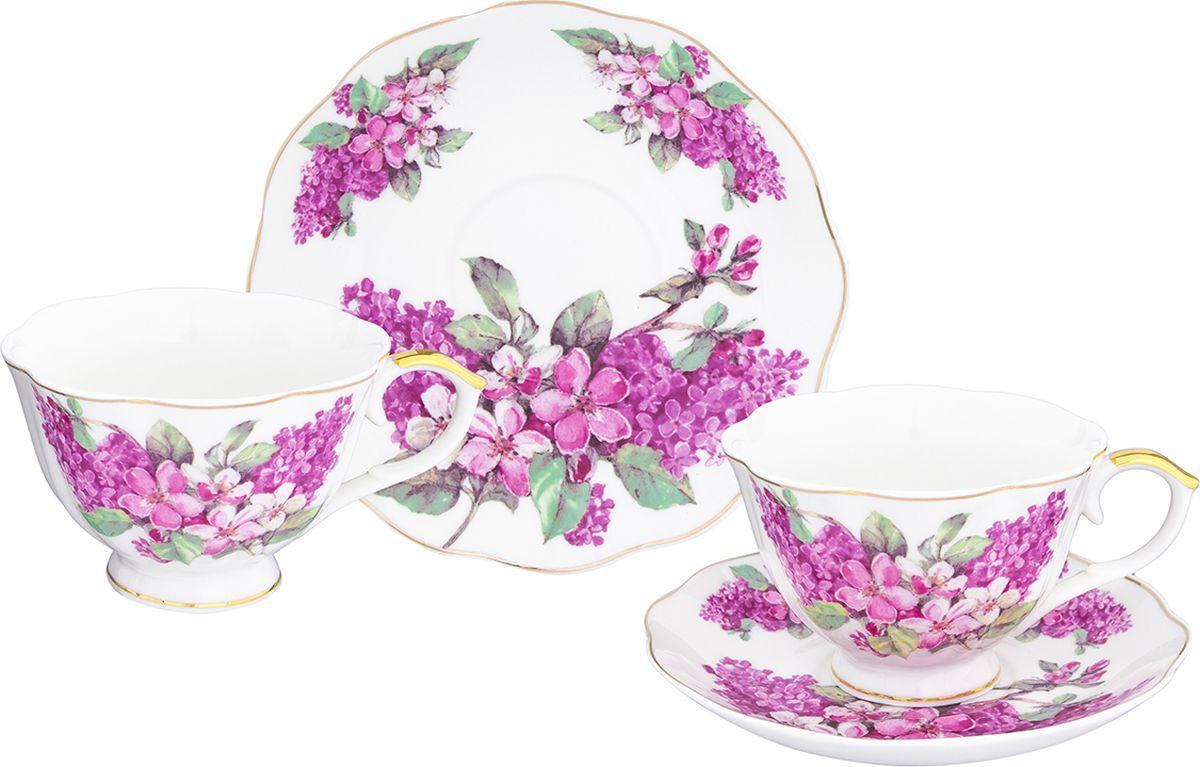Чайная пара Elan Gallery Ветка сирени чашка на ножке, 250 мл, 4 предмета. 504103504103Шикарная чайная пара на 2 персон - это отличный подарок, подходящий для любого повода. В комплекте 2 чашки на ножке объемом 250 мл, 2 блюдца.