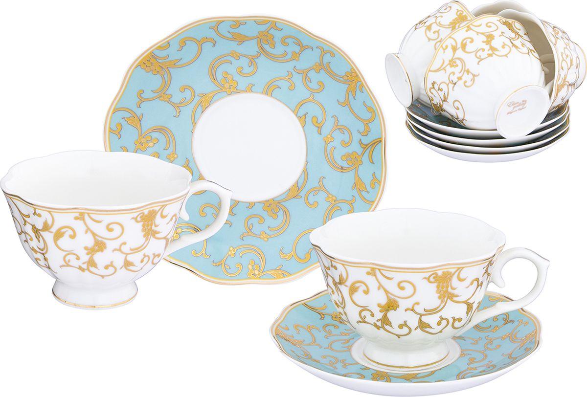 Набор чайный Elan Gallery Королевский узор на голубом, 12 предметов. 504104504104Набор чайный Elan Gallery Королевский узор на голубом состоит из 6 чашек и 6 блюдец, изготовленных из высококачественного фарфора. Набор оформлен стильным рисунком. Набор на 6 персон сделает ваше чаепитие незабываемым. Изделие имеет подарочную упаковку с шелковой подложкой, поэтому станет желанным подарком для ваших близких!
