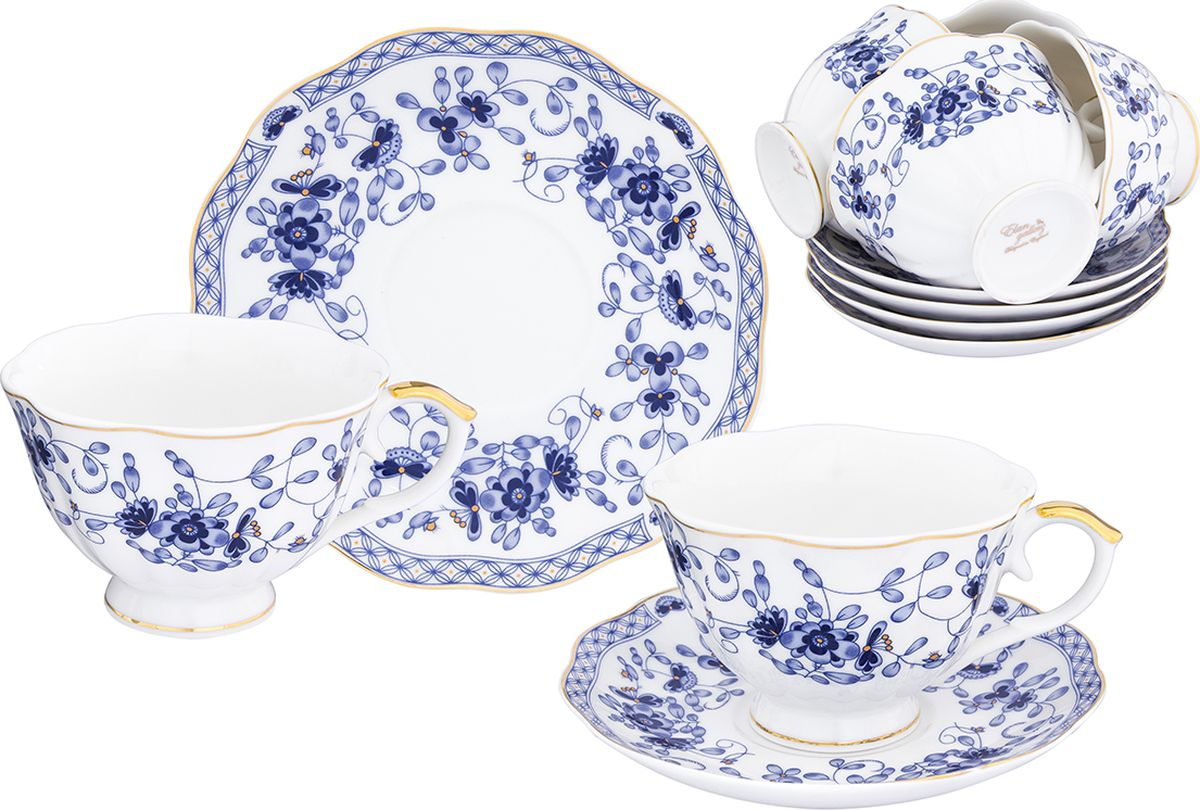 Набор чайный Elan Gallery Шарм, 12 предметов. 504106504106Набор чайный Elan Gallery Шарм состоит из 6 чашек и 6 блюдец, изготовленных из высококачественного фарфора. Набор оформлен стильным рисунком. Набор на 6 персон сделает ваше чаепитие незабываемым. Изделие имеет подарочную упаковку с шелковой подложкой, поэтому станет желанным подарком для ваших близких!
