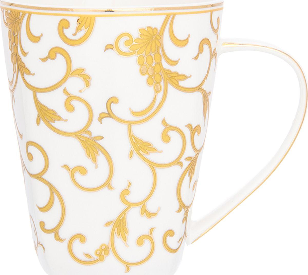 Кружка Elan Gallery Королевский узор, высокая, 420 мл. 504135504135Кружка объемом 420 мл в подарочной упаковке станет прекрасным подарком и послужит верой и правдой в повседневной жизни. Подходят для любых горячих и холодных напитков, чая, кофе, какао.