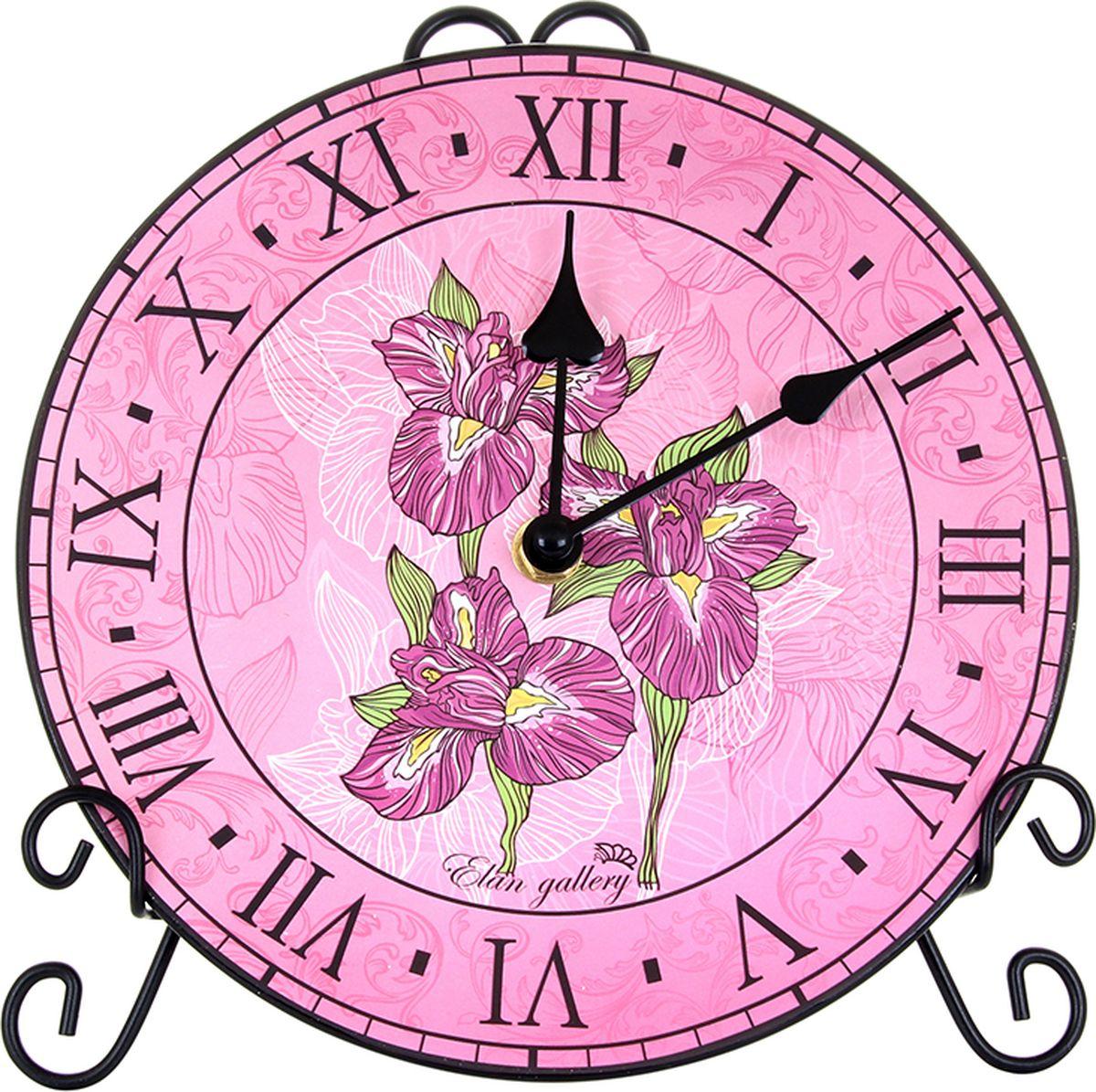Настольные часы Elan Gallery Ирисы, с подставкой, 20 см. 520128520128Красивые настенные часы украсят любой интерьер, станут его изюминкой. Гостиная, столовая, спальня в момент преобразятся, если дополнить их красивыми часами. Благодаря изящной подставке, часы можно установить на столе или полке.