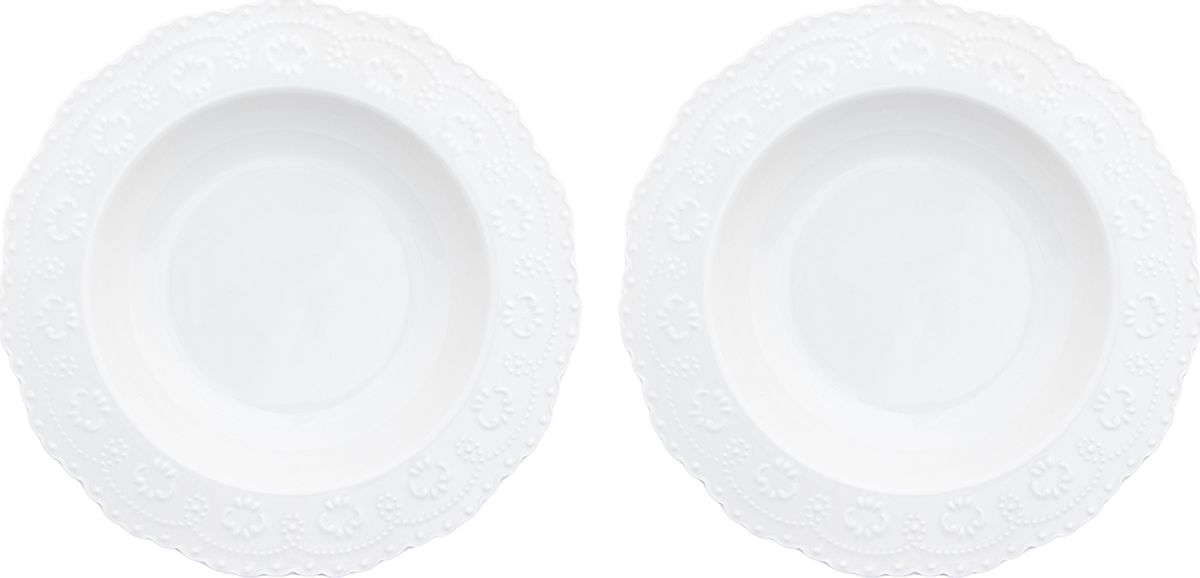 Набор суповых тарелок Elan Gallery Белый узор, 400 мл, 2 предмета. 540155540155У Вас намечается небольшое торжество - используйте набор из 2 обеденных тарелок. Они не займут много места на столе. Тарелки из серии Белый узор станут украшением Вашего стола. Изделие имеет подарочную упаковку. Размер 22*22*4 см. 400 мл