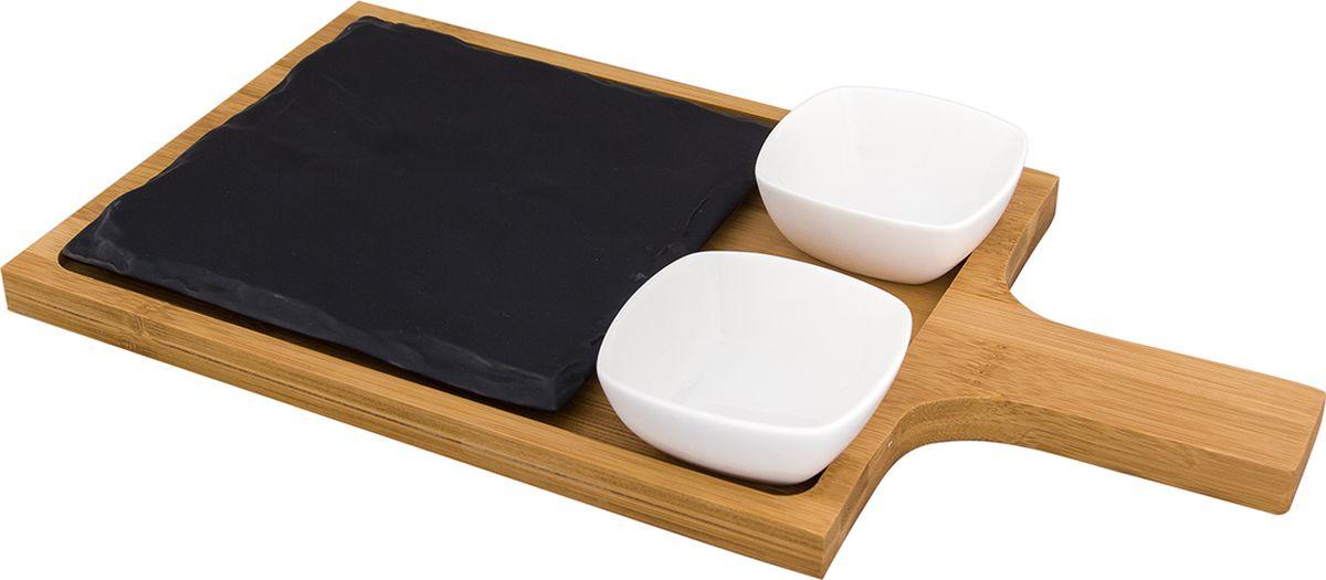 Набор посуды Elan Gallery Айсберг, для сервировки сыра, 5 предметов. 540168540168Набор посуды Elan Gallery Айсберг отлично подойдет для сервировки сыра. Набор состоит из деревянной доски, подноса, подставки и двух соусников. Такая посуда разнообразит сервировку и праздничного и повседневного стола. Размер: 7,3 х 7,3 х 3 см.Объем: 70 мл.