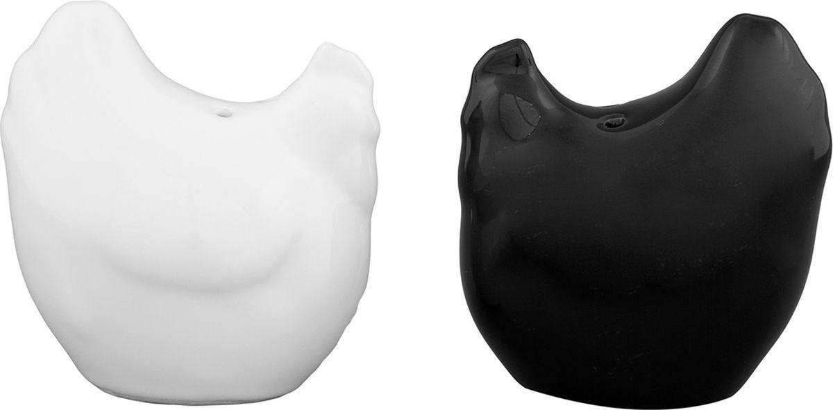 Набор для специй Elan Gallery Курочки черно - белые, 2 предмета. 550019 набор для специй elan gallery ярко бирюзовый с узором 2 предмета