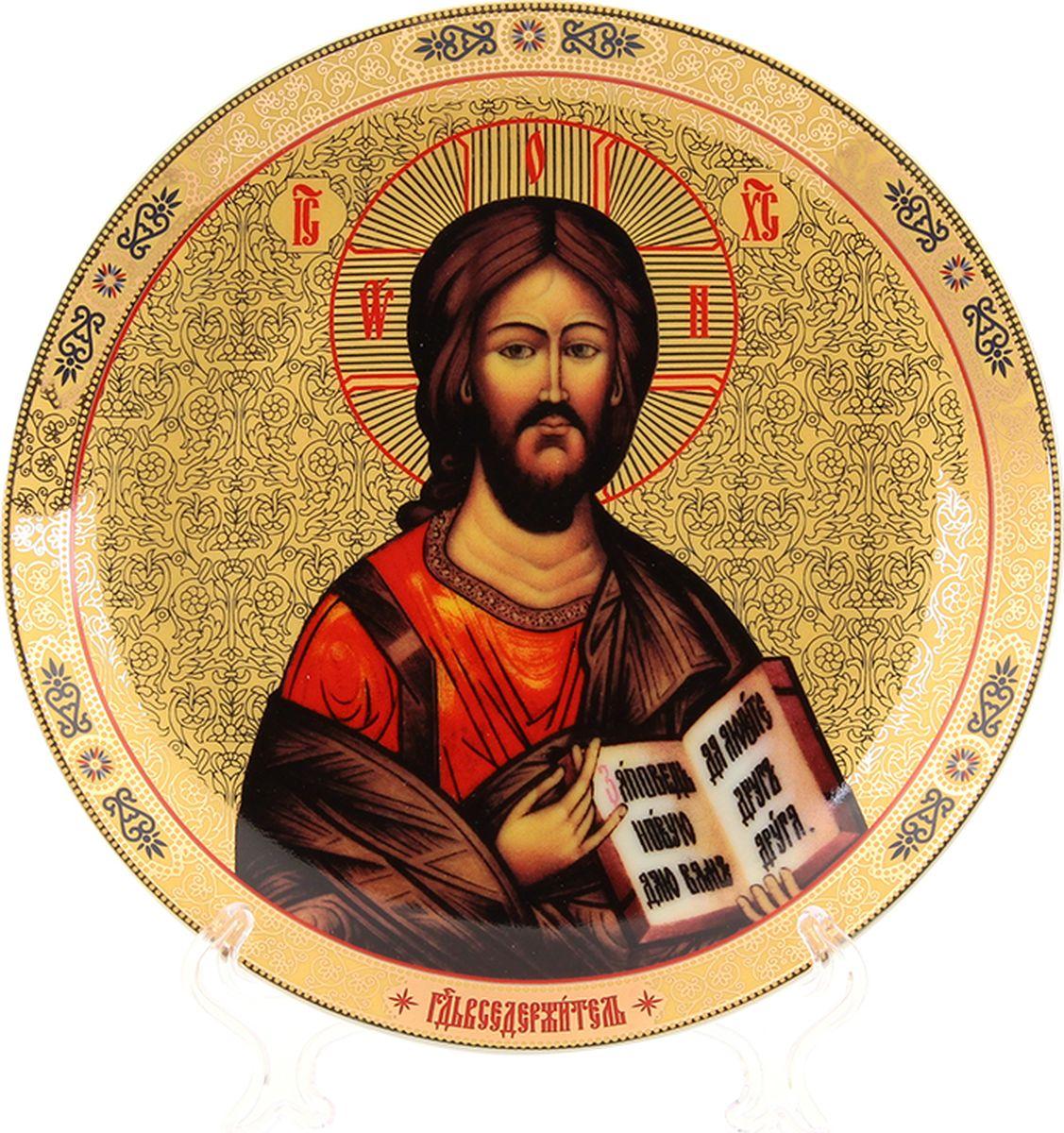 Декоративная тарелка с изображением Иисуса Христа станет необыкновенным подарком для верующих людей и оригинальным украшением на  Пасху.  Размеры: 18,5 х 18,5 х 2 см.