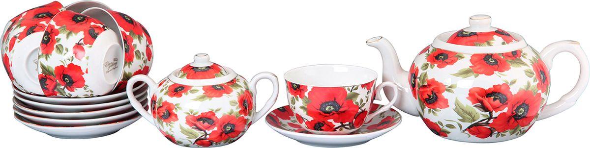 Набор чайный Elan Gallery Маки, 14 предметов. 730505730505Великолепный чайный набор на 6 персон станет шикарным подарком. В комплекте 6 чашек объемом 250 мл, 6 блюдец, сахарница объемом 450 мл, чайник объемом 1100 мл. Изделие имеет подарочную упаковку, поэтому станет желанным подарком для Ваших близких!