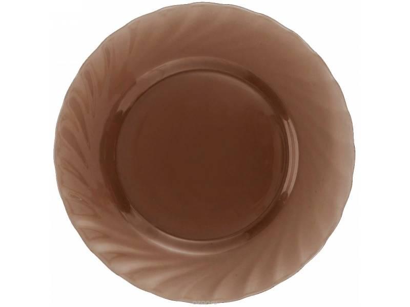 Тарелка обеденная Luminarc Ocean Eclipse, диаметр 24,5 смL5078Тарелка обеденная коричневая из серии Luminarc Ocean Eclipseвыполнена из ударопрочного, закаленного стекла, способного выдерживать резкие перепады температуры. Тарелка предназначена для сервировки вторых блюд, а так же ее можно использовать как блюдо для подачи закусок. Особенно красиво будут отражаться на дымчатом стекле блики свечей за романтическим ужином. Можно мыть в посудомоечной машине и использовать в СВЧ.